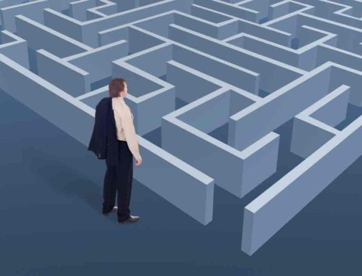 Man facing a maze